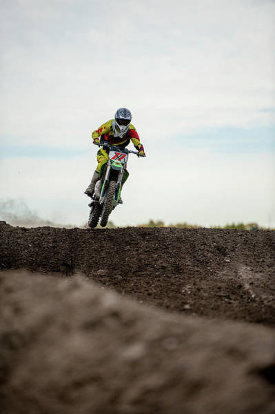 Motorcycle Racing Photograph - Low Angle View Of Motocross Racer On by Ascent Xmedia