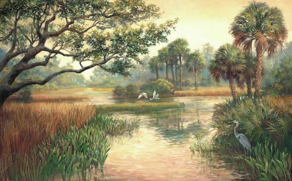 Lake Okeechobee Wall Art - Painting - Low Country Morning by Laurie Snow Hein
