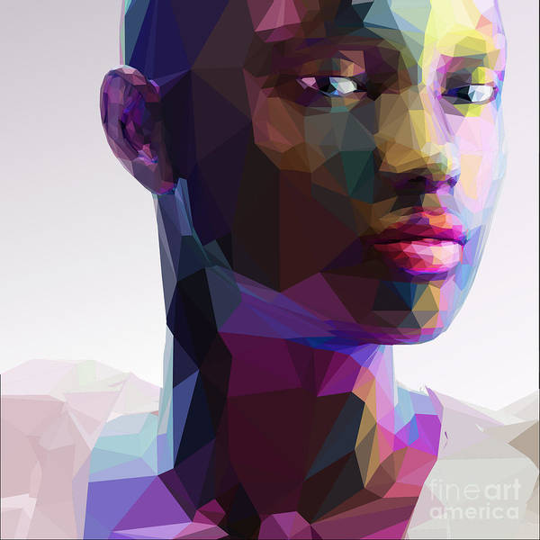 Face Paint Wall Art - Digital Art - Low Poly Abstract Portrait Of A Black by Musicman