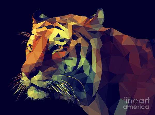 Wall Art - Digital Art - Low Poly Design. Tiger Illustration by Kundra