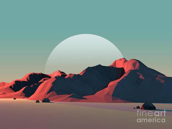 Wall Art - Digital Art - Low-poly Mountain Landscape At Dusk by Mark Kirkpatrick