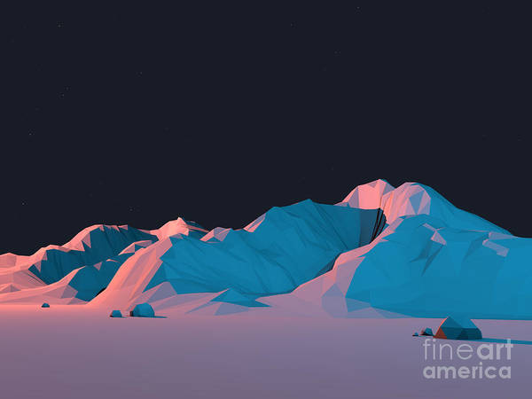 Wall Art - Digital Art - Low-poly Mountain Landscape At Night by Mark Kirkpatrick