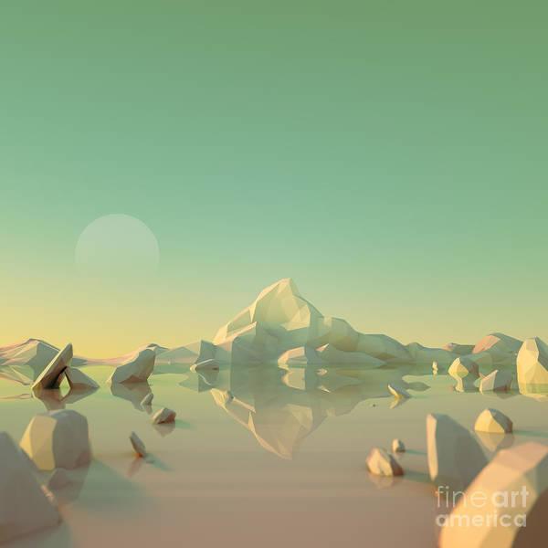 Wall Art - Digital Art - Low-poly Mountain Landscape Reflecting by Mark Kirkpatrick