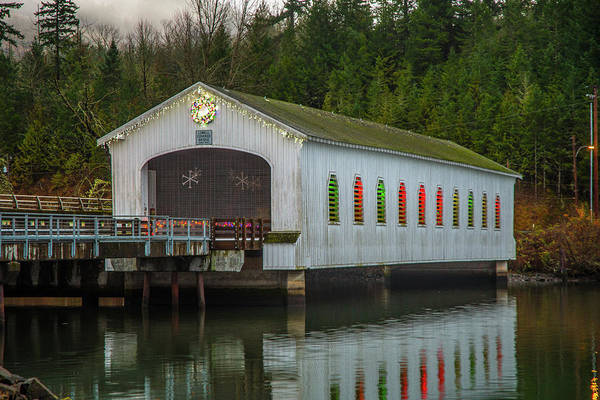 Photograph - Lowell Bridge In Christmas Dress by Matthew Irvin