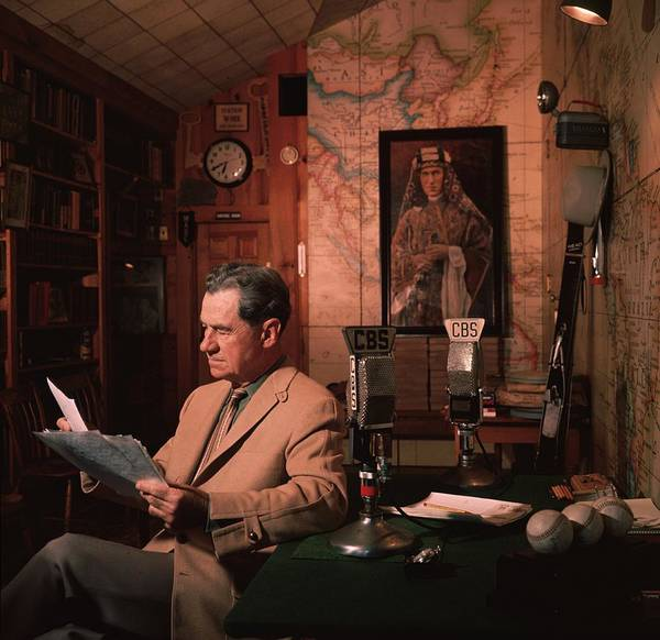 Usa Map Photograph - Lowell Thomas by Slim Aarons