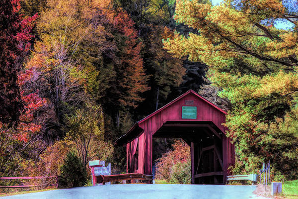 Photograph - Lower Cox Brook Covered Bridge In Autumn by Jeff Folger