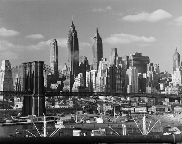Photograph - Lower Manhattan Skyline, 1948 by Andreas Feininger