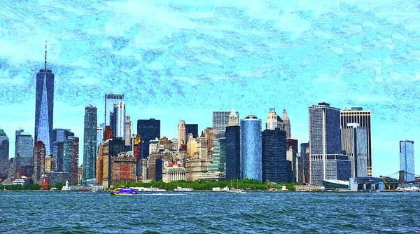 Wall Art - Photograph - Lower Manhattan Skyline - Photopainting by Allen Beatty