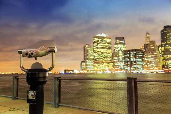Binoculars Photograph - Lower Manhattan View From Brooklyn At by Enzo Figueres
