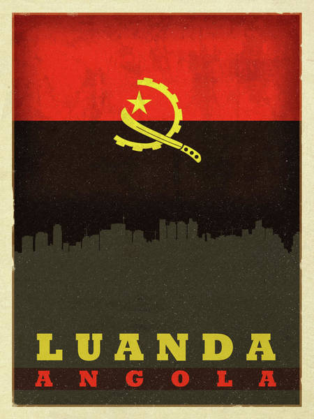 Wall Art - Mixed Media - Luanda Angola World City Flag Skyline by Design Turnpike