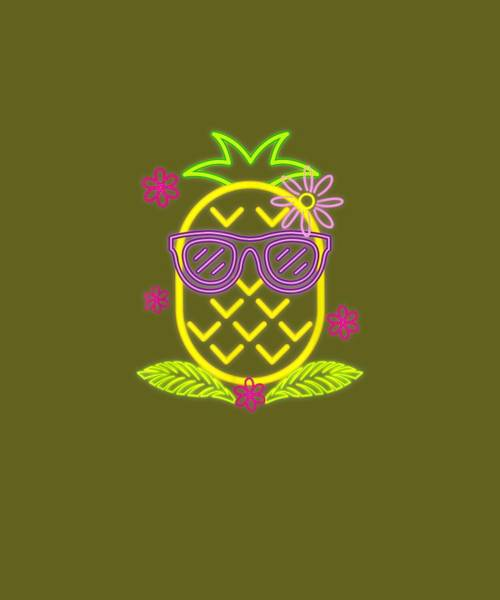 Pineapple Digital Art - Luau Party Pineapple T-shirt For Glow Party Costume by Unique Tees