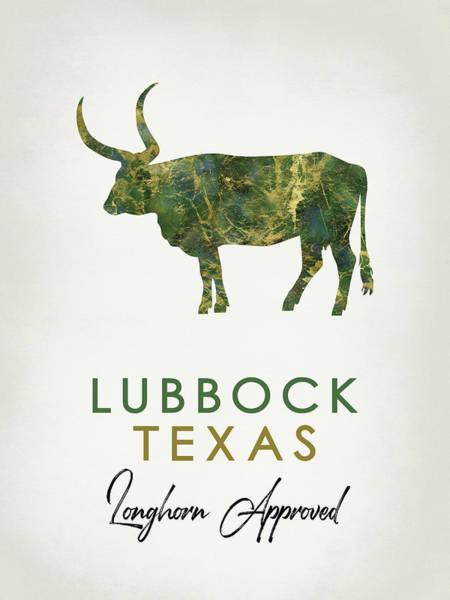 Longhorn Digital Art - Lubbock Texas Dark Marble by Flo Karp