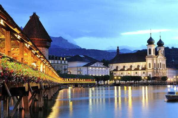 Chapel Bridge Photograph - Lucerne At Dusk by Aimintang