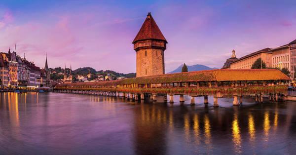Chapel Bridge Photograph - Lucerne - Chapel Bridge Pastels by John And Tina Reid