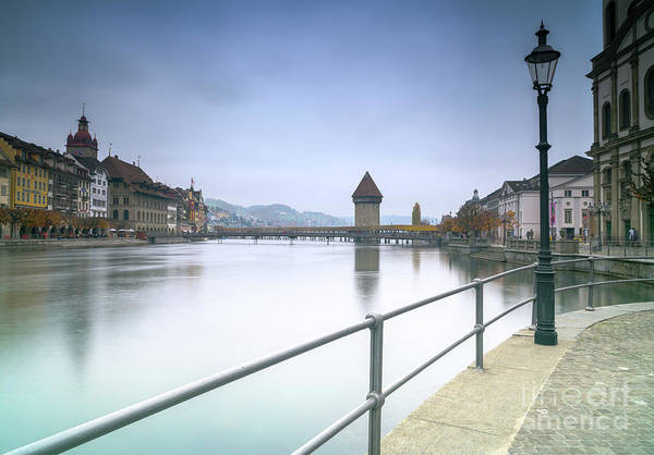 Chapel Bridge Photograph - Lucerne Upriver by DiFigiano Photography