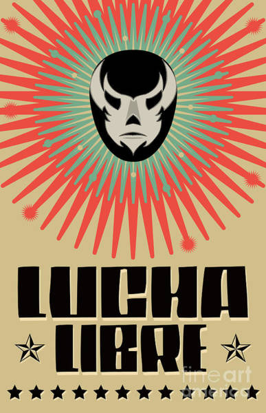 Wall Art - Digital Art - Lucha Libre - Wrestling  Spanish Text - by Julio Aldana