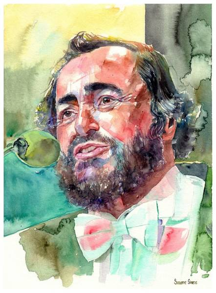 Wall Art - Painting - Luciano Pavarotti Portrait by Suzann Sines