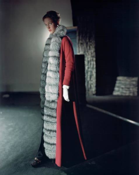 Photograph - Lucile Carhart In A Mainbocher Coat by Horst P. Horst