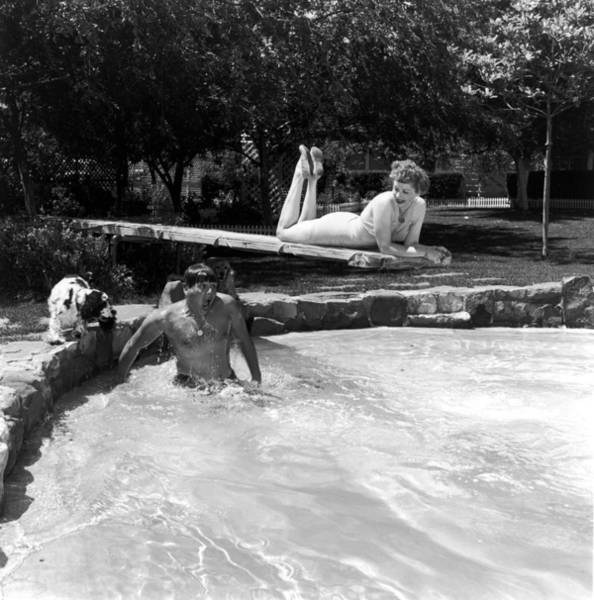 Diving Board Photograph - Lucille And Desi by Archive Photos