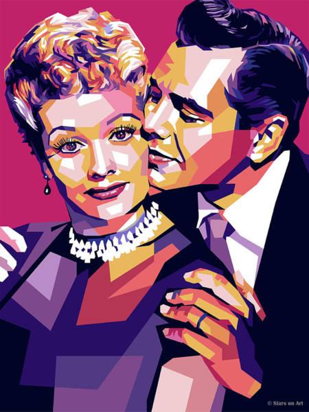 Wall Art - Digital Art - Lucille Ball And Desi Arnaz by Stars-on- Art