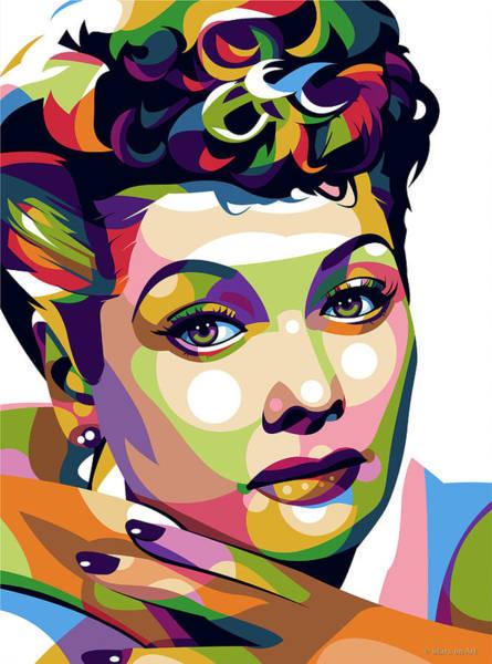 Pop Star Digital Art - Lucille Ball by Stars-on- Art