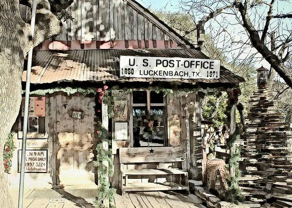 Crouching Digital Art - Luckenback Texas Post Office by Mary Pille