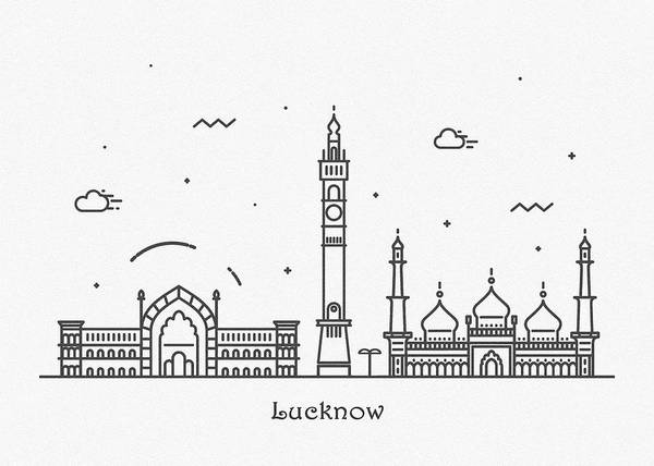 India Drawing - Lucknow Cityscape Travel Poster by Inspirowl Design