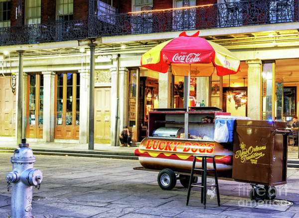 Photograph - Lucky Dog Colors At Night In Jackson Square New Orleans by John Rizzuto