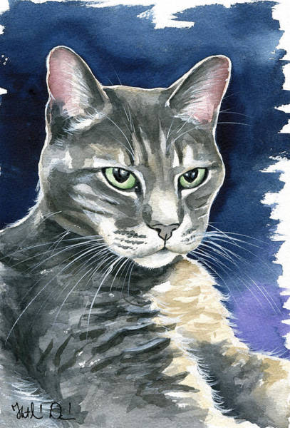 Painting - Lucky Gray Cat Painting by Dora Hathazi Mendes