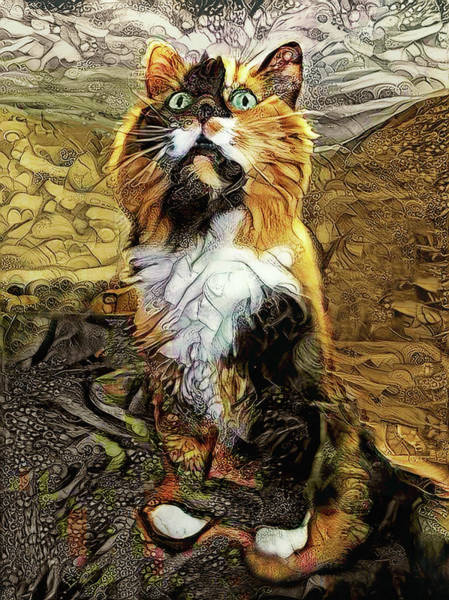 Digital Art - Lucky The Calico Cat by Peggy Collins