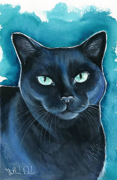 Painting - Lucy Black Cat Painting by Dora Hathazi Mendes
