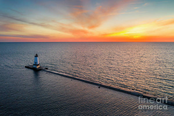 Download Photograph - Ludington Lighthouse Aerial Sunset by Twenty Two North Photography