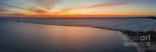 Wall Art - Photograph - Ludington Pier Panorama Aerial by Twenty Two North Photography