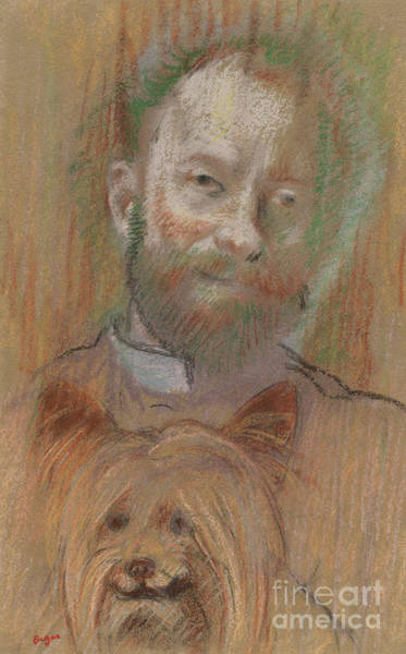 Wall Art - Pastel - Ludovic Lepic Holding His Dog, 1889 by Edgar Degas