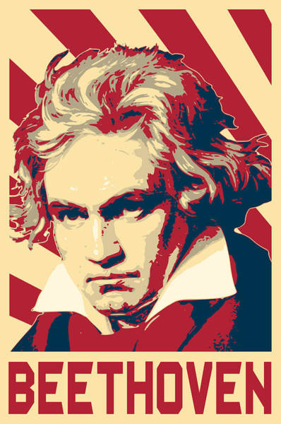 Wall Art - Digital Art - Ludwig Van Beethoven Retro Propaganda by Filip Hellman