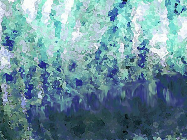 Digital Art - Luka Blue Green White by Corinne Carroll