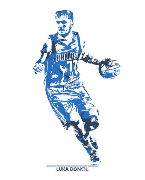 Wall Art - Mixed Media - Luka Doncic Dallas Mavericks Pixel Art 1 by Joe Hamilton