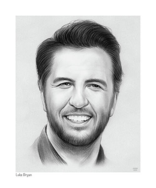 Portraits Drawing - Luke Bryan by Greg Joens