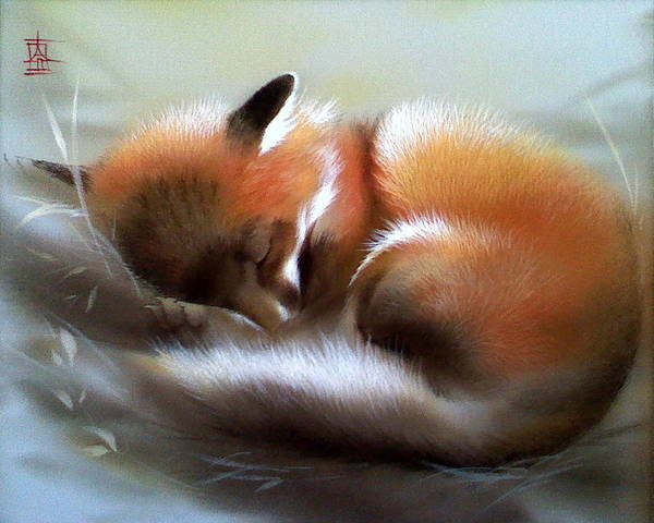Painting - Lullaby For Baby Fox by Alina Oseeva