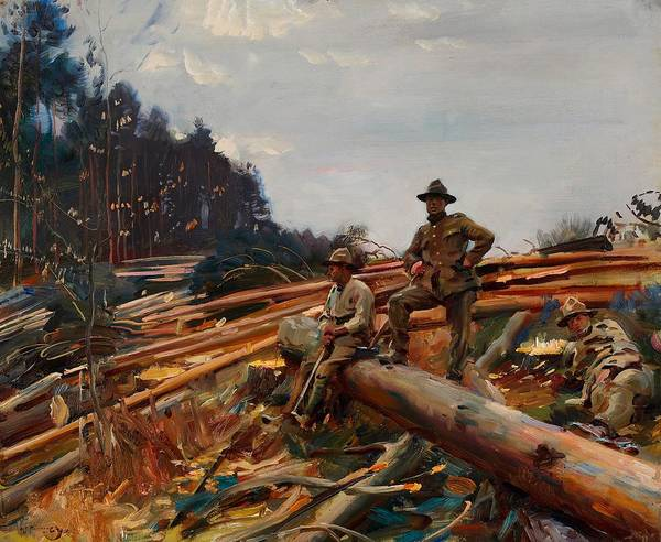 Wall Art - Painting - Lumbermen Amongst The Pines by Alfred Munnings
