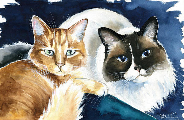 Painting - Luna And Leo Cat Painting by Dora Hathazi Mendes