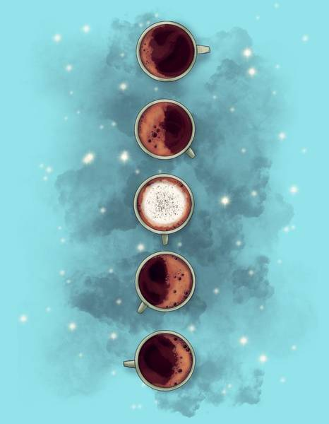 Coffee Drawing - Lunar Coffee by Ludwig Van Bacon