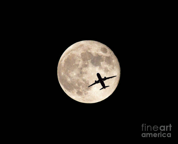 Photograph - Strawberry Moon And Airliner by Kevin McCarthy