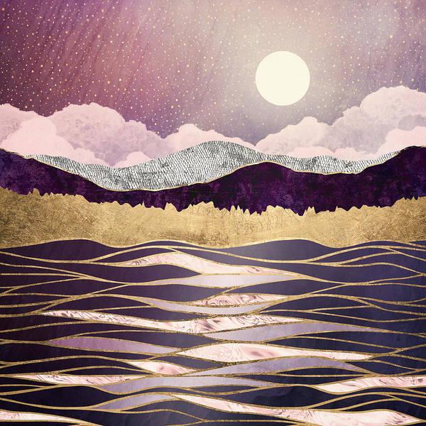 Wall Art - Digital Art - Lunar Waves by Spacefrog Designs
