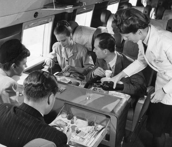 1958 Photograph - Lunch Aboard by Fox Photos