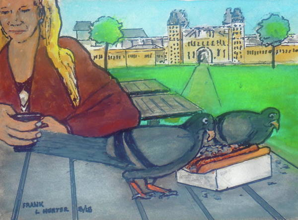 Painting -  Lunch For The Birds In Amsterdam by Frank Hunter