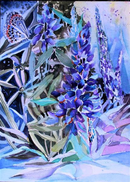 Wall Art - Painting - Lupine And Karner Butterfly by Mindy Newman