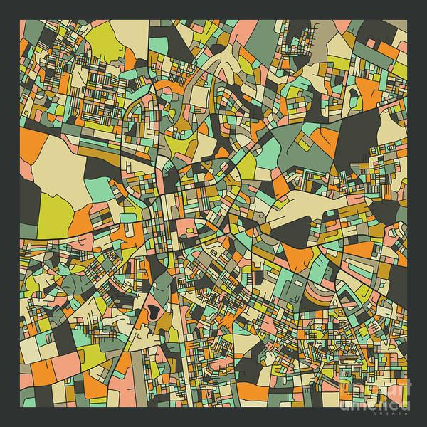 Wall Art - Digital Art - Lusaka Map 2 by Jazzberry Blue