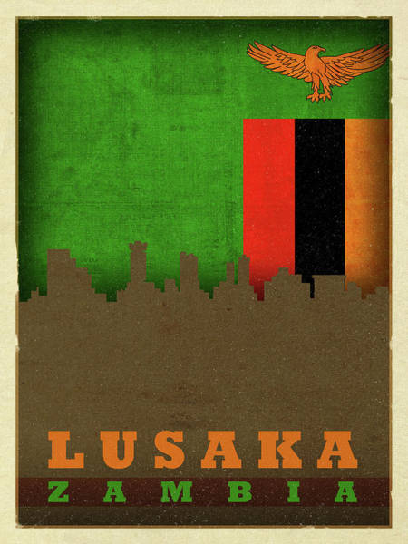 Wall Art - Mixed Media - Lusaka Zambia World City Flag Skyline by Design Turnpike