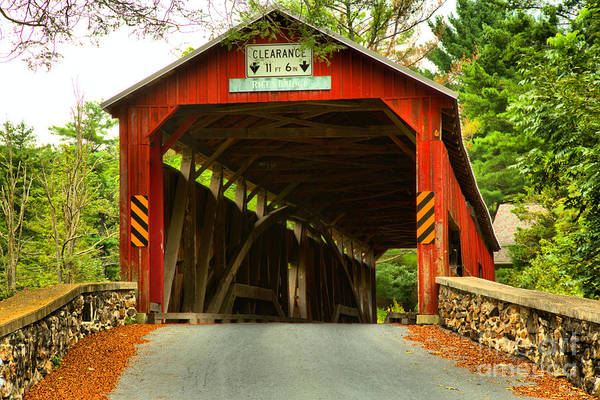 Photograph - Lush Landscape At The Rice's Covered Bridge by Adam Jewell